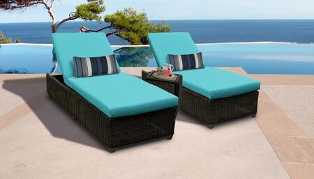 Venice Collection VENICE-2x-ST-ARUBA Patio Set with 2 Chaises   1 Side Table - Wheat and Aruba