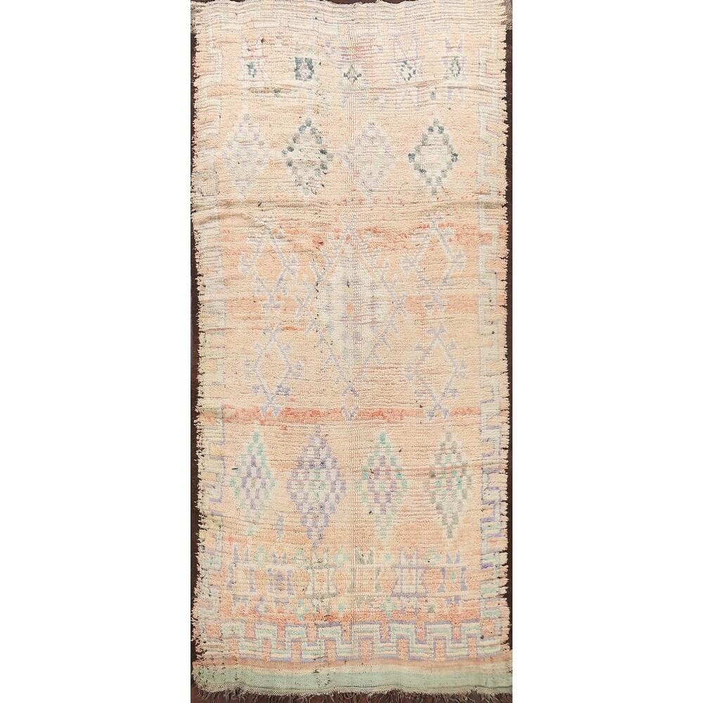 Antique Oriental Authentic Moroccan Vegetable Dye Area Rug Handmade - 4'9
