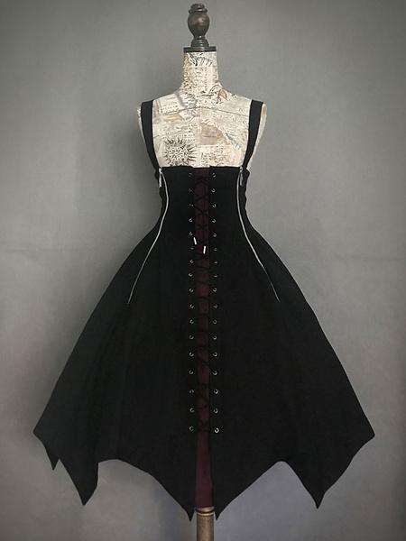 Milanoo Gothic Lolita JSK Dress Black Lace Up Lolita Jumper Skirt