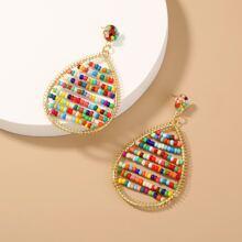 Ohrringe mit bunten Perlen Dekor