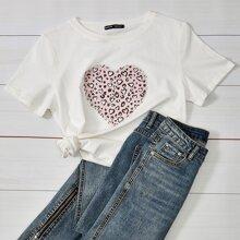 T-Shirt mit Leopard & Herzen Muster und rundem Kragen