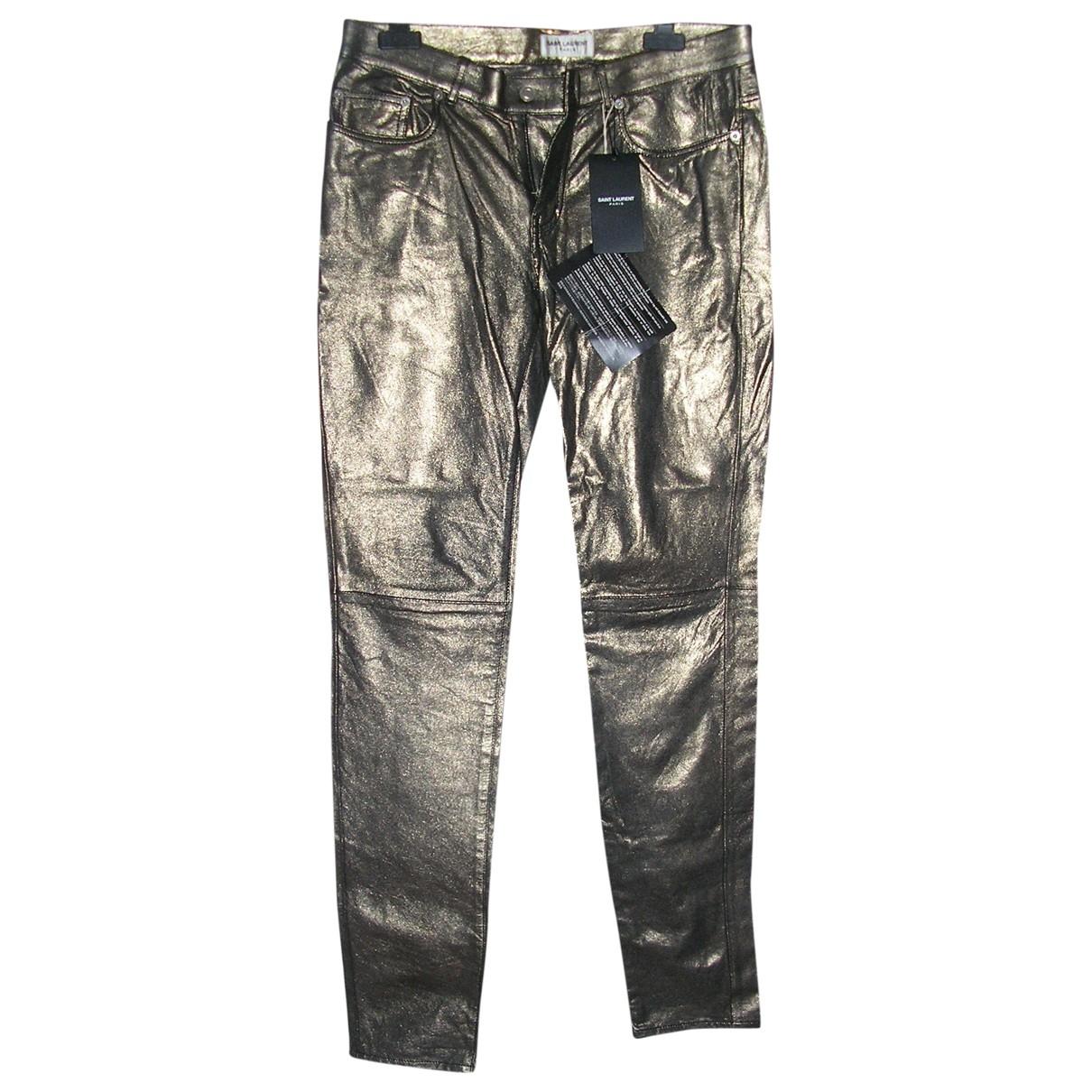 Saint Laurent \N Metallic Leather Trousers for Women 40 FR