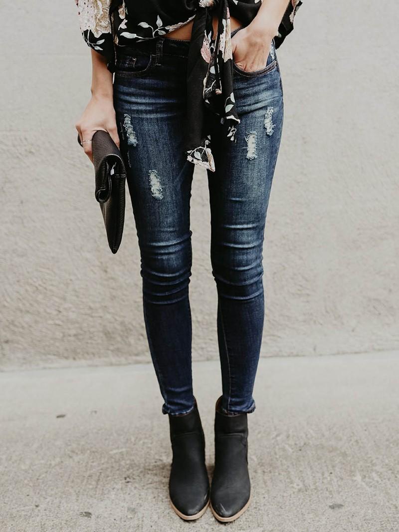 Ericdress Mid-Waist Skinny Women's Jeans
