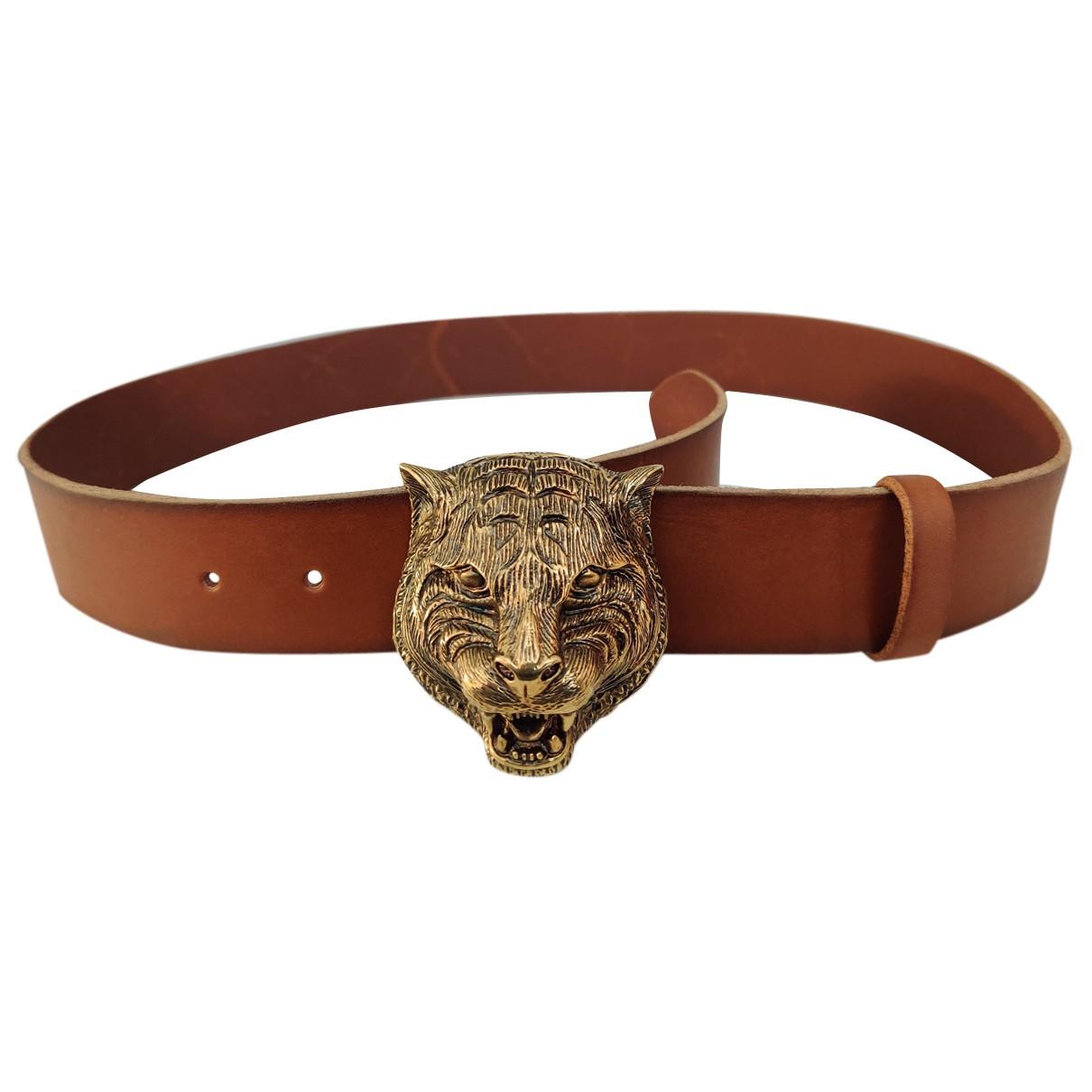 Gucci N Brown Leather belt for Men 90 cm