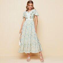 Vestido floral de margarita con encaje ribete con fruncido