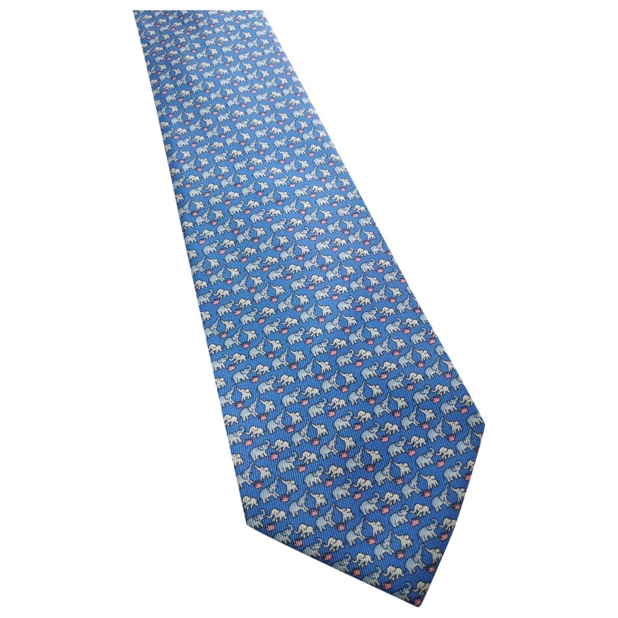 Non Signe / Unsigned \N Krawatten in  Blau Seide