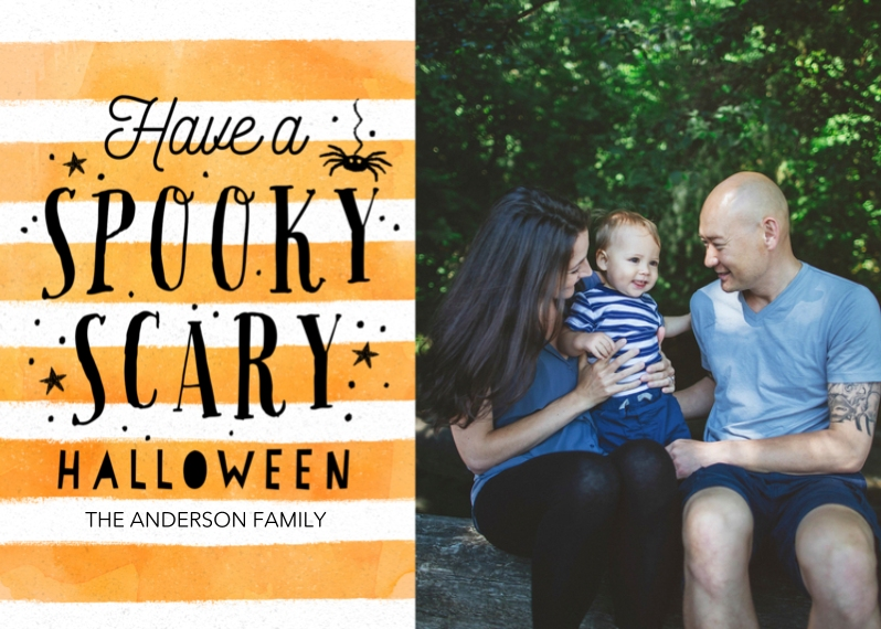 Halloween Photo Cards 5x7 Cards, Premium Cardstock 120lb with Rounded Corners, Card & Stationery -Spooky & Striped