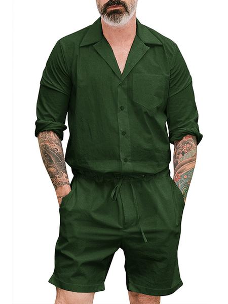 Yoins Men Solid Drawstring Loose Pockets Short Jumpsuit