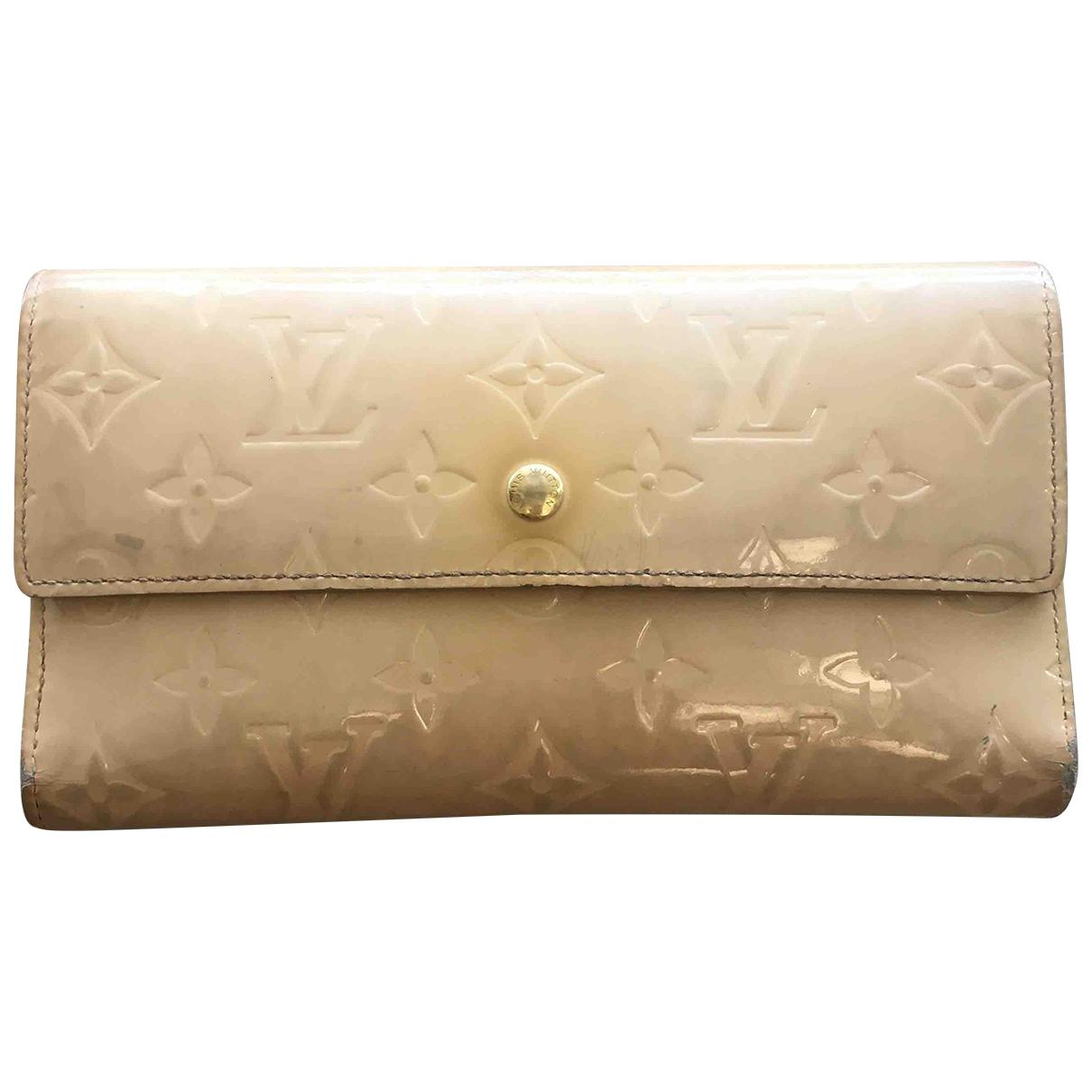 Louis Vuitton - Portefeuille Virtuose pour femme en cuir verni - beige