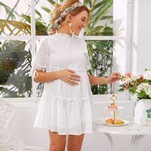 Maternidad vestido smock schiffy ribete fruncido de puño con nudo