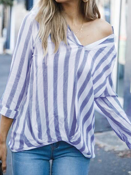 Yoins ZANZEA Striped V-neck 3/4 Length Sleeves Blouse