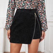 Corduroy O-ring Zip Detail Mini Skirt