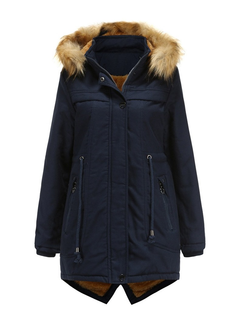 Ericdress Pocket Straight Thick Mid-Length Cotton Padded Jacket