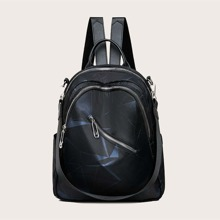 Geometric Graphic Zip Front Backpack
