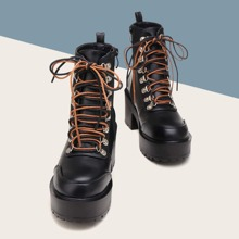 Round Toe Platform Chunky Heeled Combat Boots