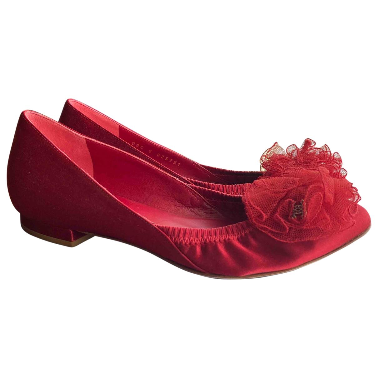 Chanel - Ballerines   pour femme en toile - rouge