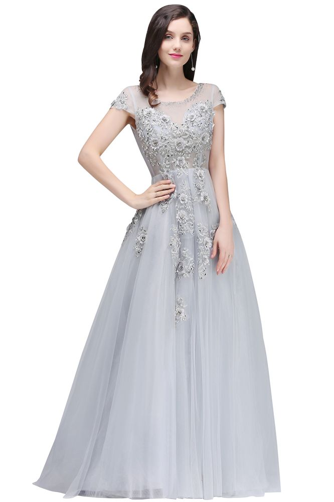 ELAINA | A-line Crew Short Sleeves Floor-length Appliques Tulle Prom Dresses