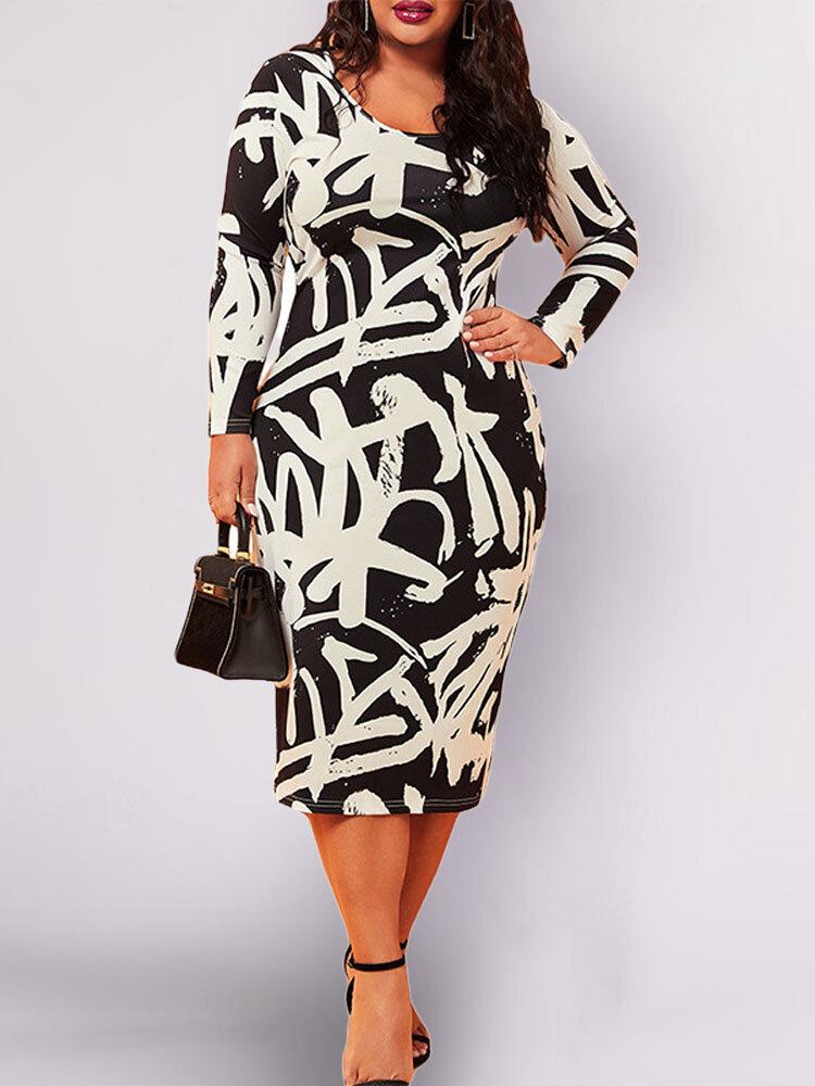 Print Long Sleeve A-line O-neck Plus Size Dress
