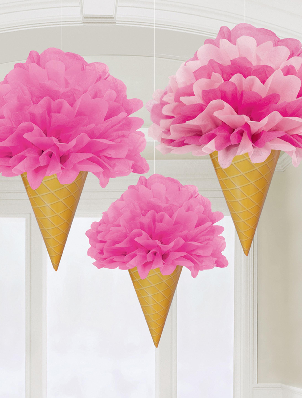 Fluffy Deko Eiswaffeln 3 Stk. Farbe: pink/gelb
