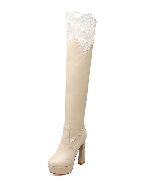 Milanoo Platform Over The Knee Boots Womens PU and Lace Round Toe Chunky Heel Boots