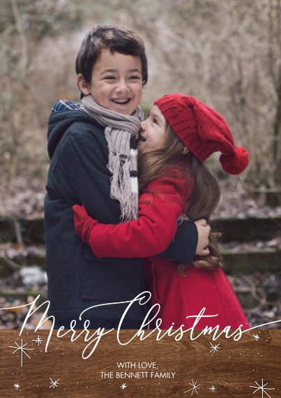 Christmas Photo Cards 5x7 Cards, Premium Cardstock 120lb with Elegant Corners, Card & Stationery -Christmas Gold Star Script by Tumbalina