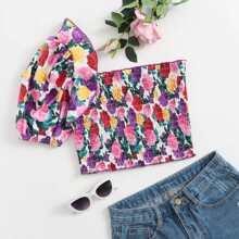 One Shoulder Frill Trim Shirred Floral Top