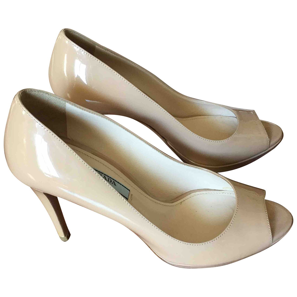 Prada \N Ecru Patent leather Heels for Women 36 IT