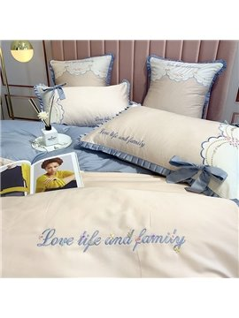 Princess Four-Piece Set Long Staple Cotton Embroidery Duvet Cover Set Long Staple Cotton Bedding Sets