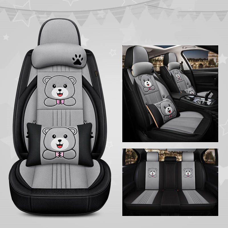 Cartoon Style Cute Little Fat Bear And Little Fat Hamster Pattern Breathable Cellular Mesh Design Easy To Install All Seasons Universal Fit Seat Cover
