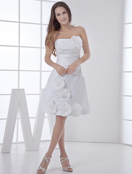 Milanoo White Wedding Dress Knee-Length Strapless Flowers Ruched Taffeta Wedding Gown