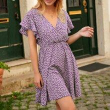Kleid mit Schmetterling Ärmeln, Gaensebluemchen Muster und offener Rueckseite