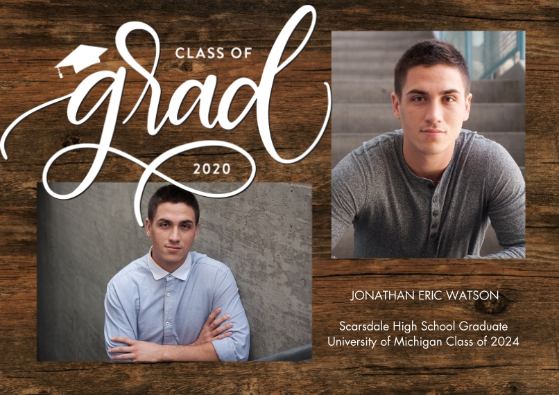 2020 Graduation Announcements 5x7 Cards, Premium Cardstock 120lb with Rounded Corners, Card & Stationery -Grad 2020 Simple Script by Tumbalina