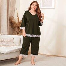 Conjunto de pijama top ribete con encaje con pantalones de pierna ancha