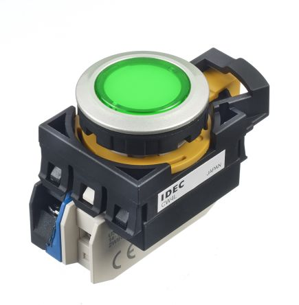Idec ,  CW Illuminated Green Round Push Button, 22mm Momentary Screw