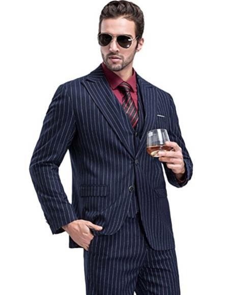 Navy Chalk White Pinstripe Stripe 2 Buttons Vested Suit Pleated Pant