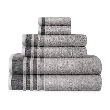 Home Expressions Solid or Stripe Bath Towel Collection, One Size , Gray