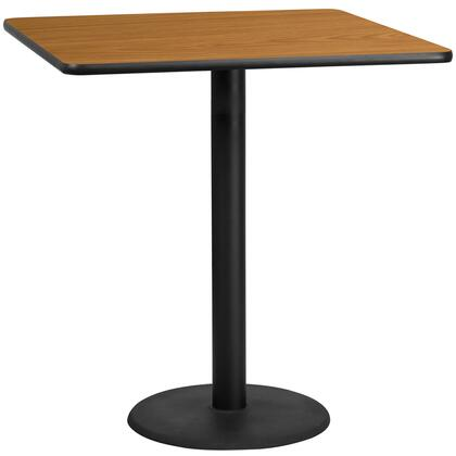 XU-NATTB-4242-TR24B-GG 42 Square Natural Laminate Table Top with 24 Round Bar Height Table