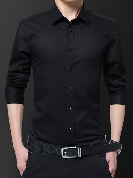 Milanoo Men Formal Shirt Plus Size Button Down Fleece Lining Long Sleeve Dress Shirt