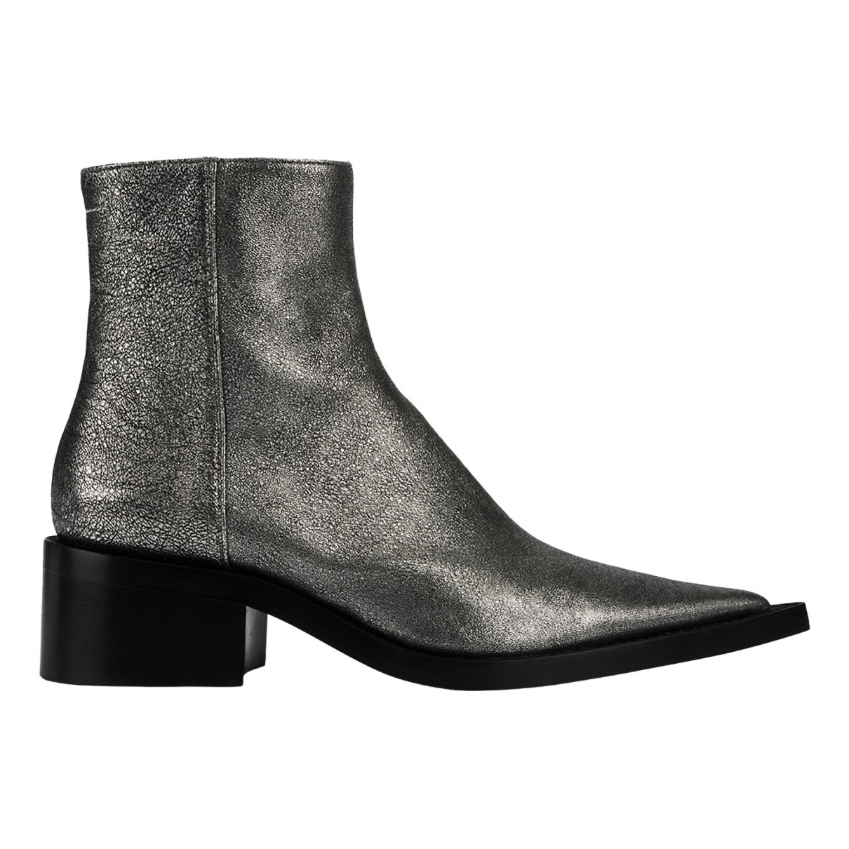 Mm6 N Silver Leather Boots for Women 6 UK