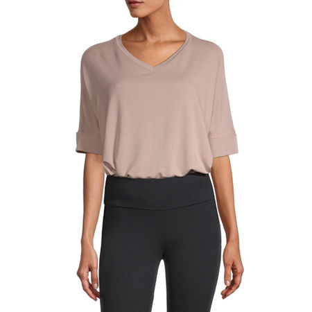 Stylus Step Hem Womens V Neck Short Sleeve Sweatshirt, X-small , Pink