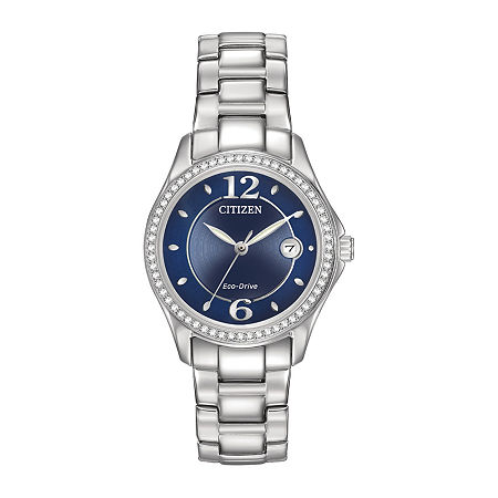Citizen Silhouette Crystal Womens Silver Tone Stainless Steel Bracelet Watch-Fe1140-86l, One Size , No Color Family