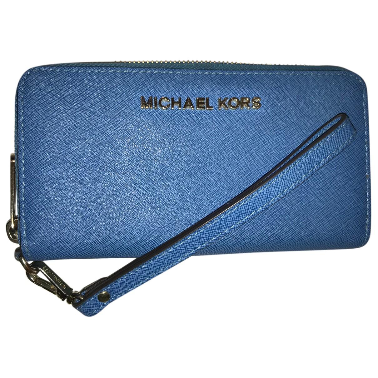 Michael Kors - Portefeuille   pour femme en cuir - turquoise