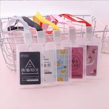1pc Clear Card Holder With Lanyard