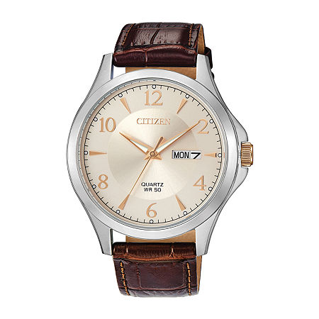 Citizen Quartz Mens Brown Leather Strap Watch-Bf2009-29x, One Size , No Color Family