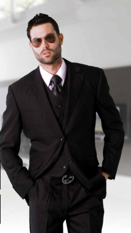 Mens Black 3 Piece 2 Button Vested Extra Fine Italian Fabric Suit
