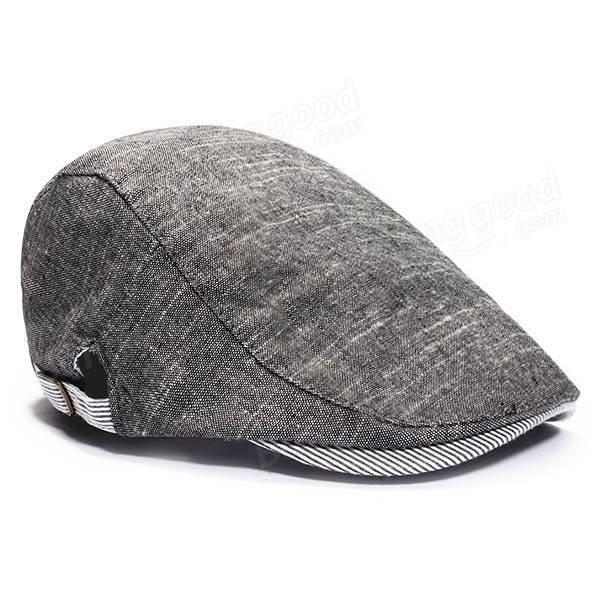 Mens Beret Retro Cotton Visor Gorras Planas Hat Cabbie Ivy Cap Peaked Cap