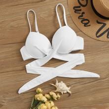 Bikini Top mit Wickel Design und Buegel