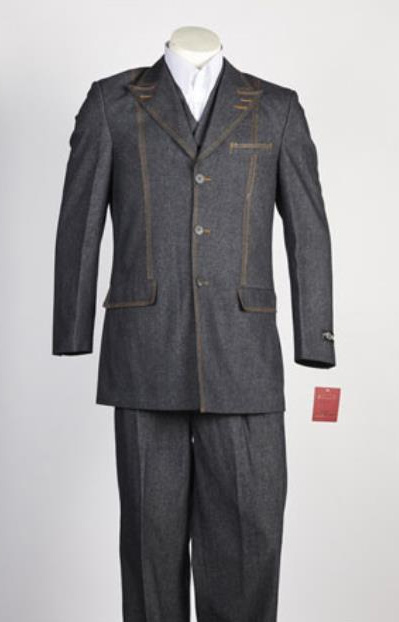 Mens Denim Jean 3 Buton 2 Piece Single Breasted Suit Black