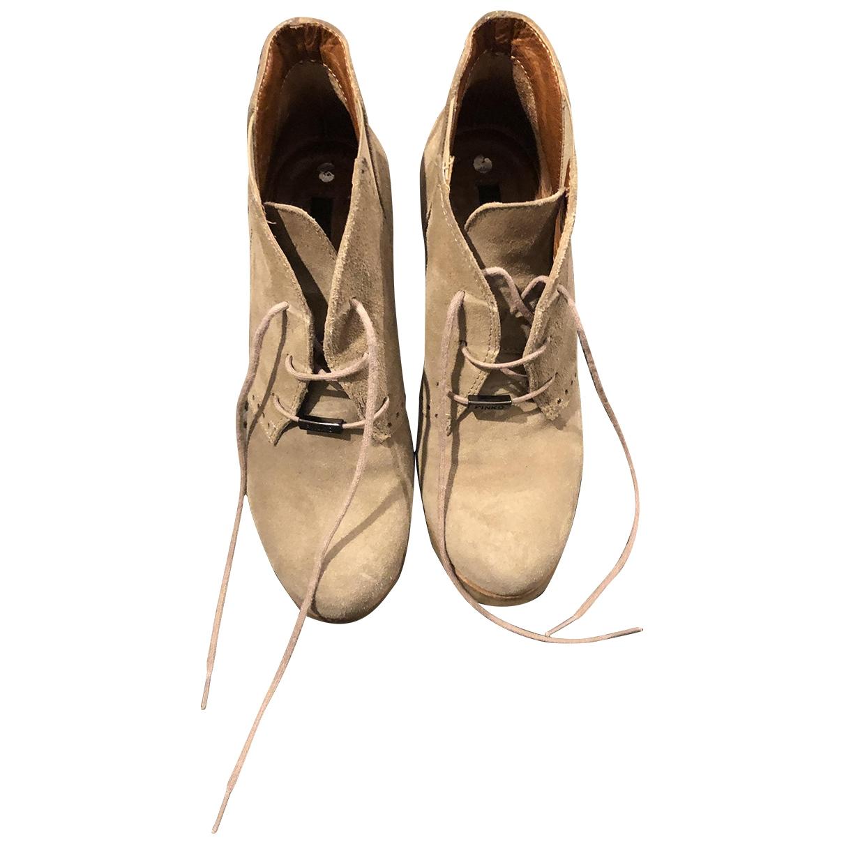 Pinko - Boots   pour femme en suede - beige