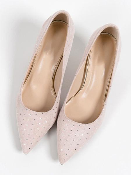 Milanoo Woman\'s Mid-Low Heels Chic Pointed Toe Kitten Heel Slip-On Pumps